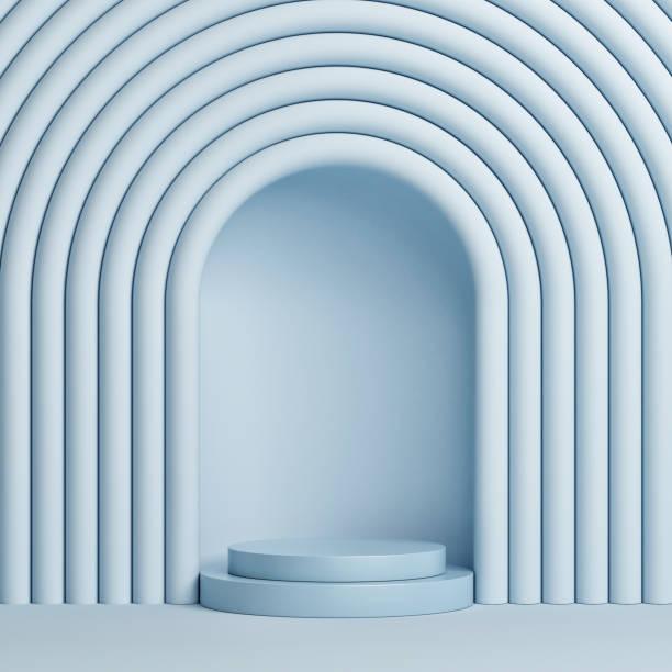 Abstrakter blauer Hintergrund mit Siegerpodest. – Foto