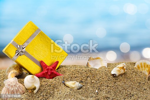 istock Abstract blue blur of seashore with bokeh 1129374538