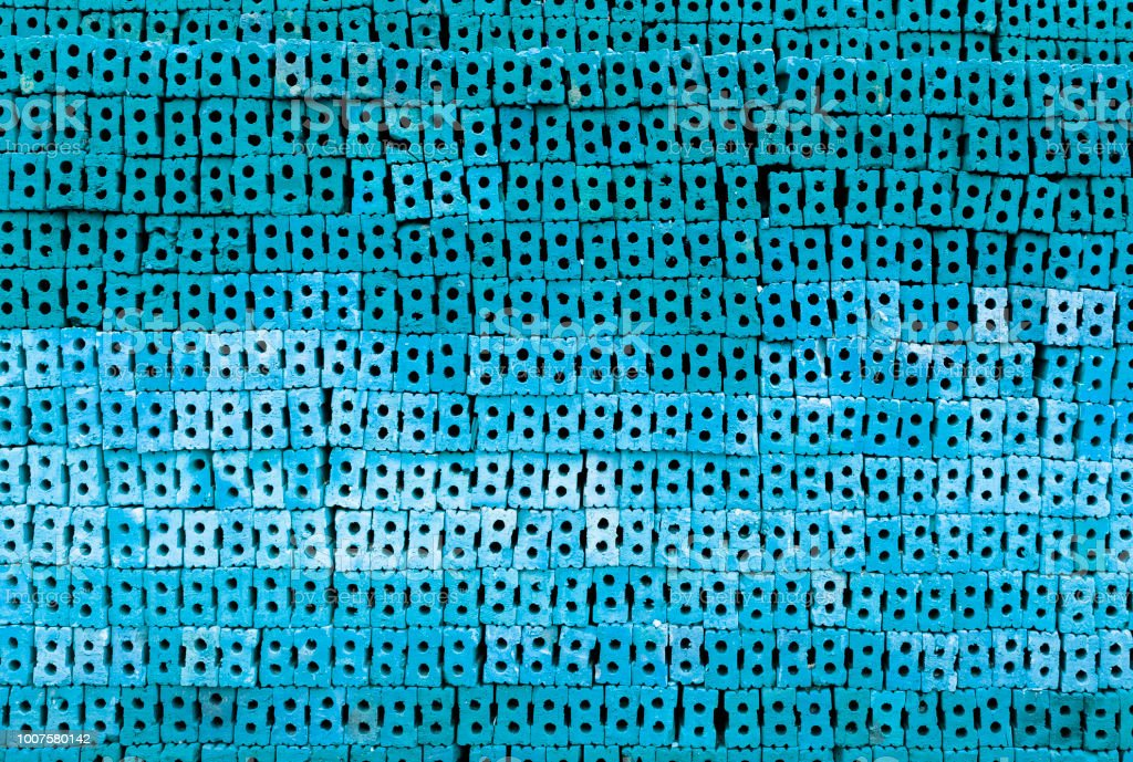 Abstract blue brick wall background with blue filter, blue texture...