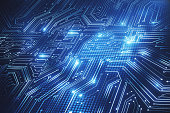 Abstract blue circuit background. Hardware, chip and computing concept. 3D Rendering