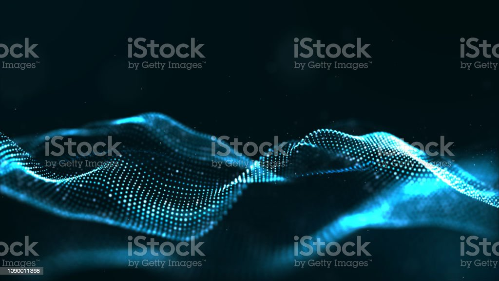 Abstract blue color digital particles wave with dust and light background - Foto stock royalty-free di Arte
