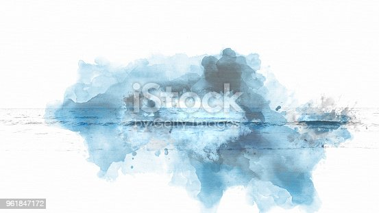 istock Abstract blue colorful soft wave water sea on watercolor painting background. 961847172