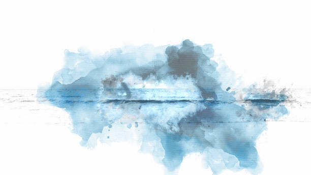 Abstract blue colorful soft wave water sea on watercolor painting background. stock photo