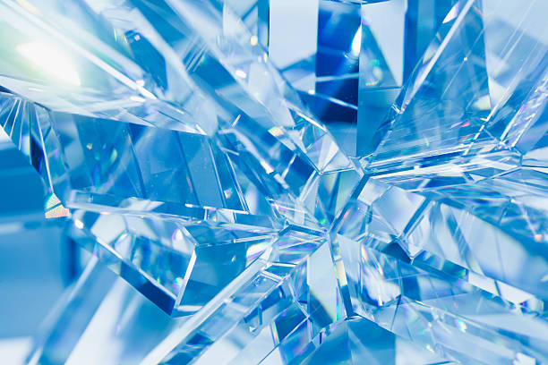 abstract blue crystal refractions - ice crystal stock pictures, royalty-free photos & images