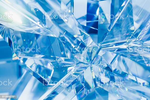 Photo of abstract blue crystal refractions