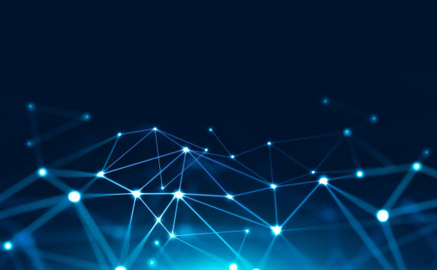 Abstract blue digital background Abstract background with glowing light blue connection dots over dark blue. Concept of digital technology and blockchain. 3d rendering mock up computer network stock pictures, royalty-free photos & images