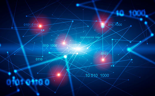 1146532466 istock photo Abstract blue digital background with HUD 1142996122