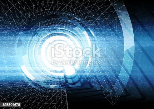 859156600 istock photo Abstract blue digital tunnel background 3 d 858804678