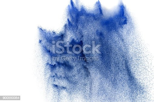 874001870 istock photo abstract blue dust explosion on  white background. abstract blue powder splattered on white  background, Freeze motion of blue powder exploding. 900550054