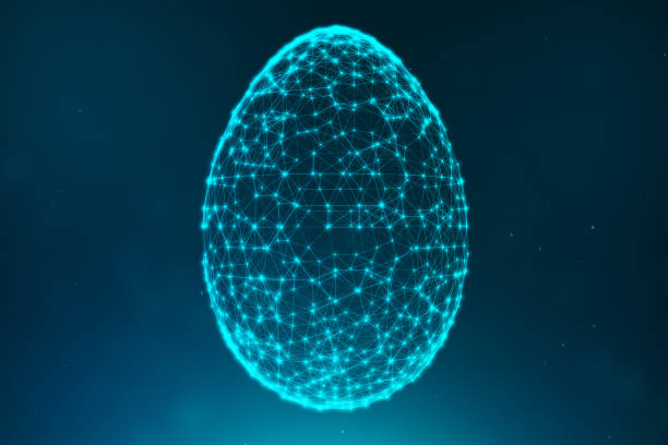 Abstract blue Easter eggs consisting of blue lines and glowing neon dots. Abstract egg triangle shape. Happy Easter Egg. 3D illustration stock photo