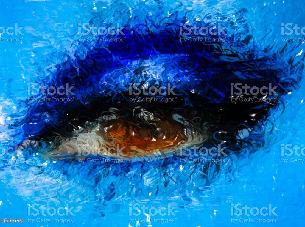 Abstrakte Blaue Augen Makeup Nahaufnahmehd Digital