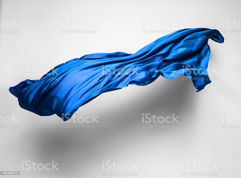 abstract blue fabric in motion stock photo