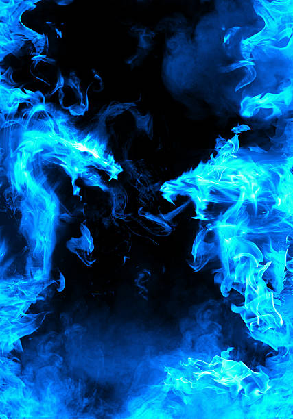 Abstract blue fiery dragon versus – Foto