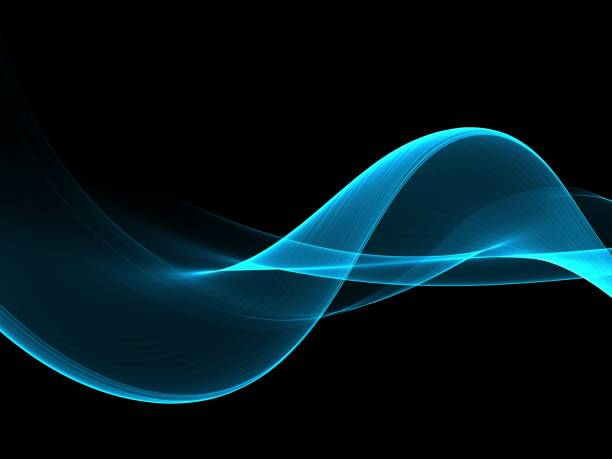 abstract blue flow wave background - wave pattern stock pictures, royalty-free photos & images
