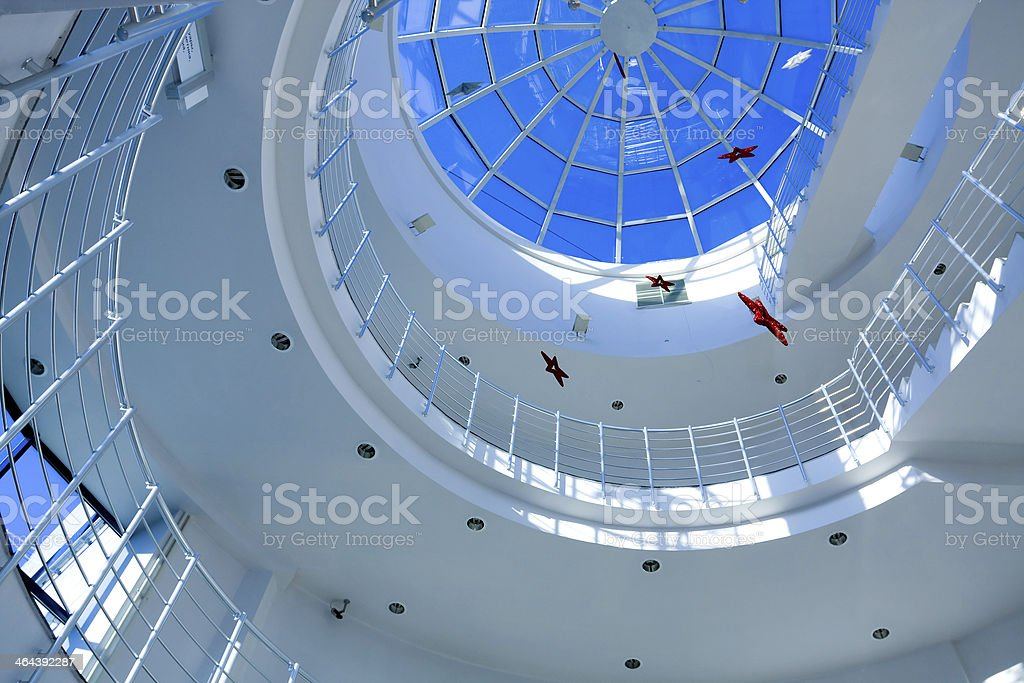 Abstract blue geometric ceiling royalty-free stock photo