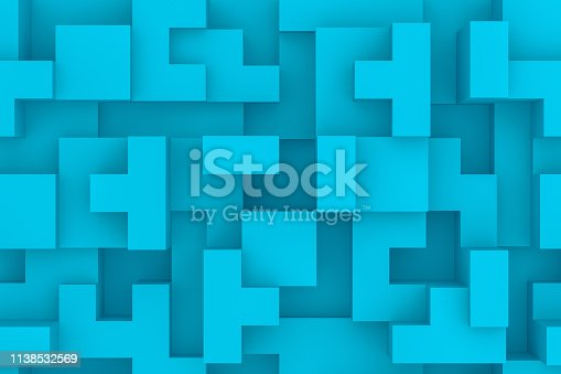 Block Stacking Video Game, Toy Block, Puzzle, Wood - Material, Shape, Logic Game. Blue background.