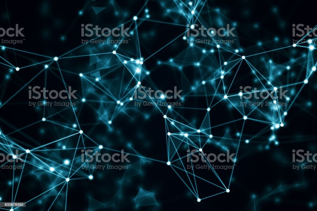 abstract blue geometrical background with moving lines and dots. 3d illustration stock photo