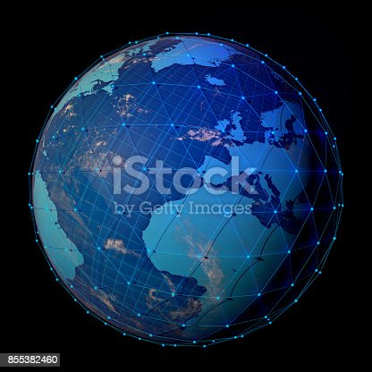 643972462 istock photo Abstract Blue Globe Technology Network Background 855382460