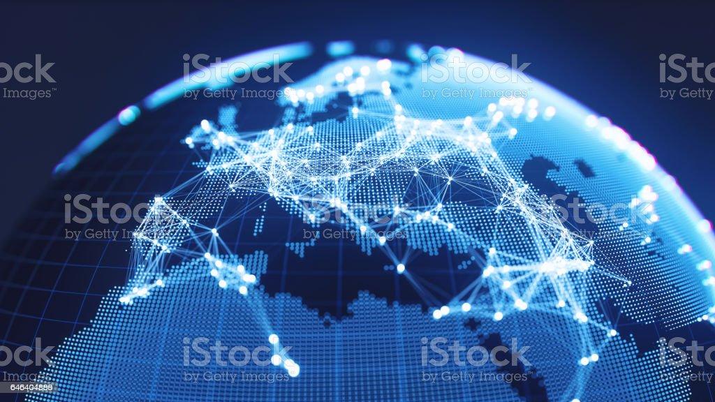 Globo azul abstracto con redes que brilla intensamente - Europa foto de stock libre de derechos