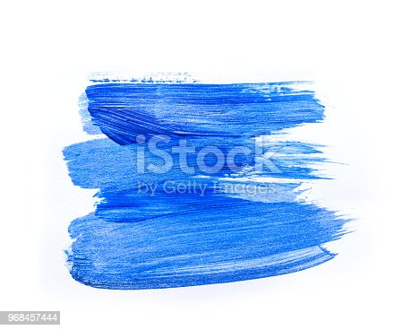 istock Abstract blue hand drawn acrylic painting creative art background.Closeup shot of brushstrokes colorful acrylic paint on canvas with brush strokes overlap of color texture. Modern contemporary art 968457444