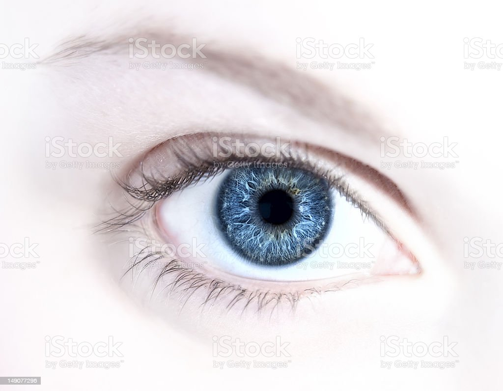 Abstract Blue Human Eye stock photo