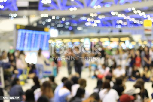 istock Abstract Blue image of passengers in international airport. 679706016