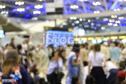 istock Abstract Blue image of passengers in international airport. 679706076