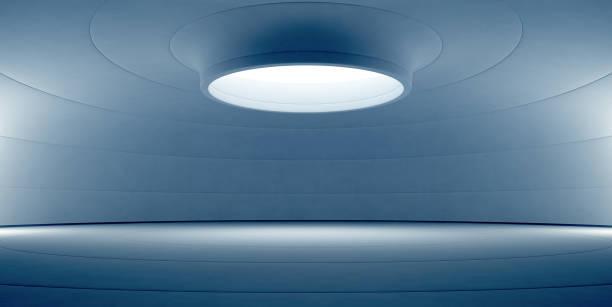 abstrakt blau interior design der modernen showroom mit leeren weißen boden und gebogene betonwand hintergrund, bühne für produkt in zukunft architektur oder raumschiff anzeigen - betondecke stock-fotos und bilder