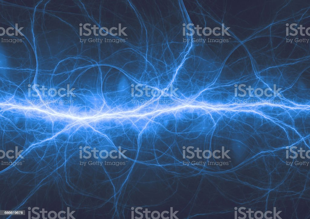 Abstract blue lightning, electric background royalty-free stock photo