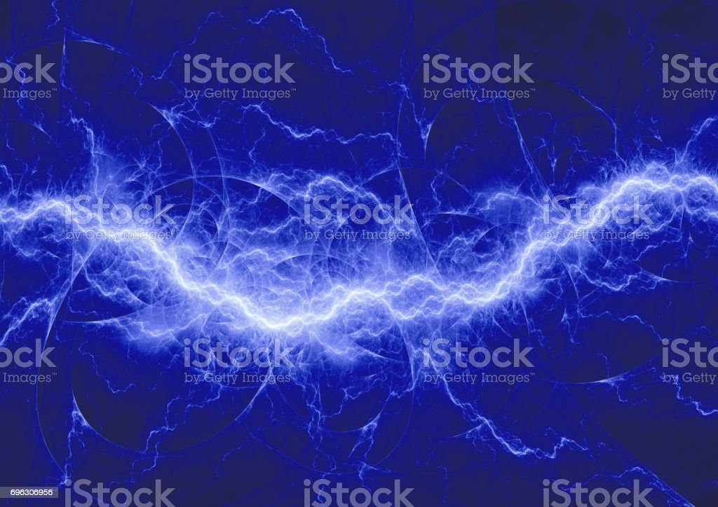 Abstract Blue Lightning Electric Plasma Background Stock
