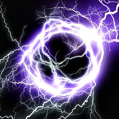 Abstract blue lightning vortex that illuminates the darkness
