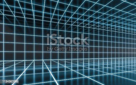 istock Abstract blue neon 1134562035