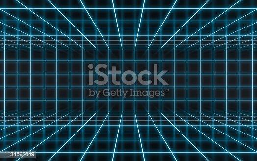 istock Abstract blue neon 1134562049