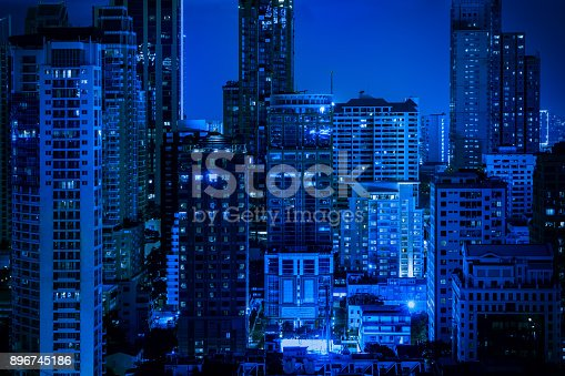 istock abstract blue nigjt cityscape filter - can use to display or montage on product 896745186