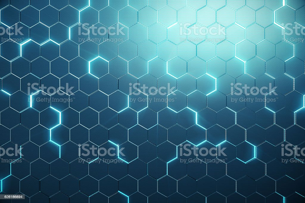 Abstract blue of futuristic surface hexagon pattern with light rays stock photo