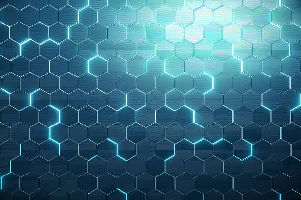 abstract blue of futuristic surface hexagon pattern with light rays - esagono foto e immagini stock