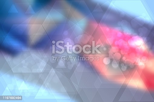 istock Abstract blue orange modern futuristic technology and business background texture with mixed geometrical figures. Medical structure, artificial intelligence and science presentation backdrop. 1197692494