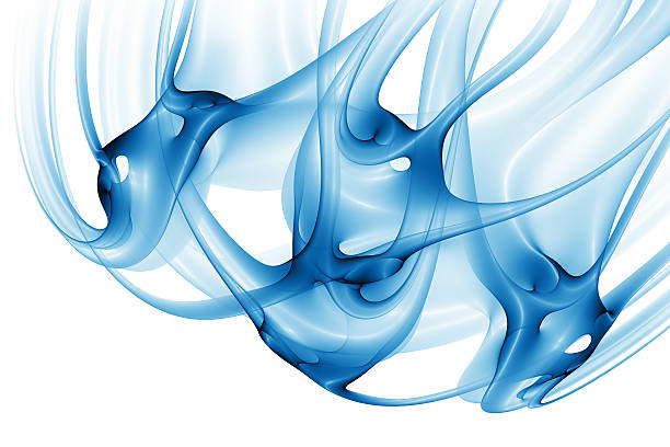 abstract blue organic shape stock photo