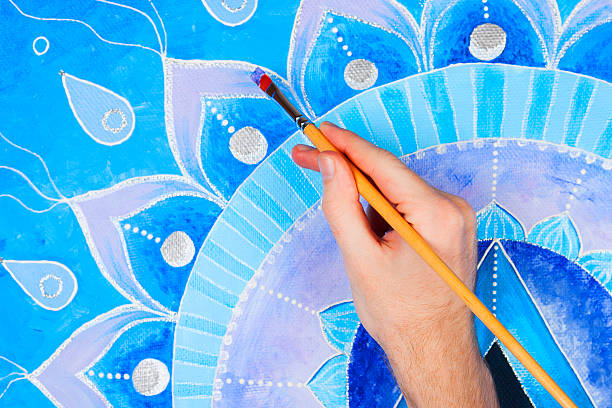 abstract blue painted picture mandala of vishuddha chakra - mandala bildbanksfoton och bilder