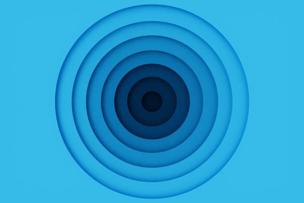 추상 파란색 종이 잘라 배경, 동그라미 모양. 디자인 레이아웃에 대 한 파란색 동그라미, 프리 젠 테이 션, 전단지, 배너, 포스터, 브로셔. 타이포 그래피 층 곡선 종이 접기, 3d 렌더링 - 원형 뉴스 사진 이미지