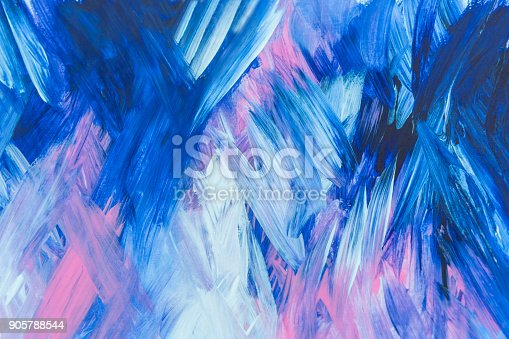 istock Abstract Blue pink and white Painting with Brush Strokes 905788544