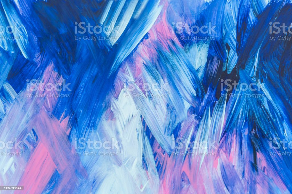 Abstract Blue pink and white Painting with Brush Strokes - fotografia de stock