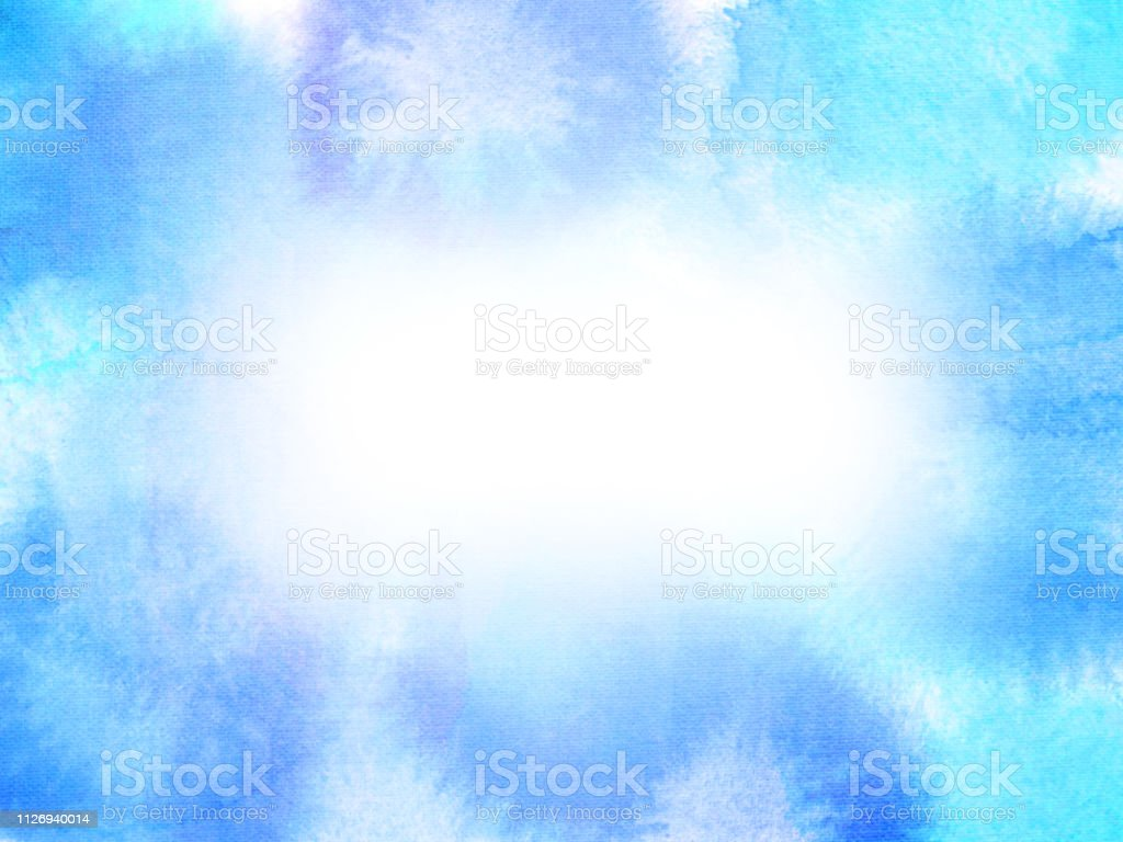 Abstract Blue, Purple and White Watercolor Painting stock photo