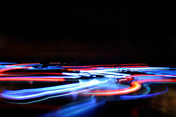 Abstract blue red horizontal lights traffic motion blur stock photo