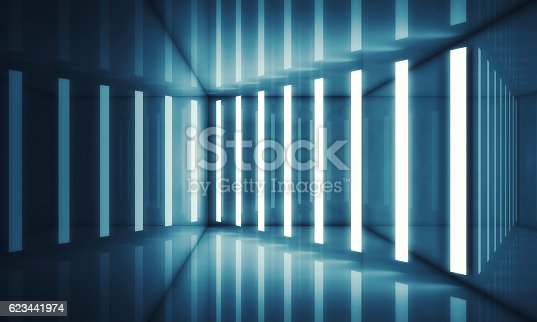 istock Abstract blue room interior with neon lights 623441974