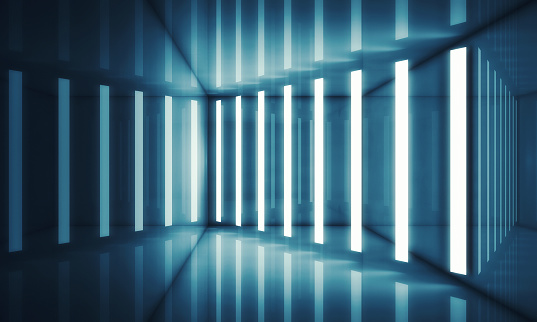 478919130 istock photo Abstract blue room interior with neon lights 623441974