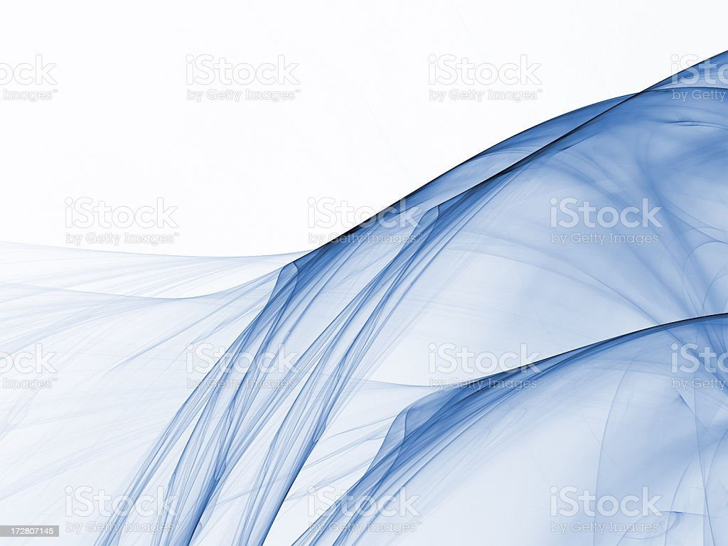 Abstract blue silky smoke or fabric against white background stock photo