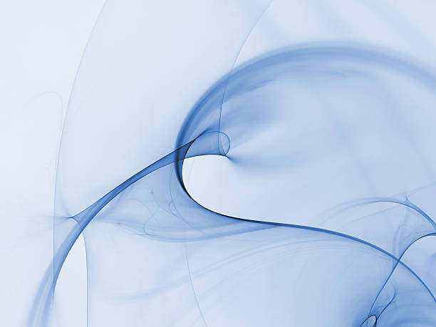 Abstract blue smoke effect against a white background stock photo