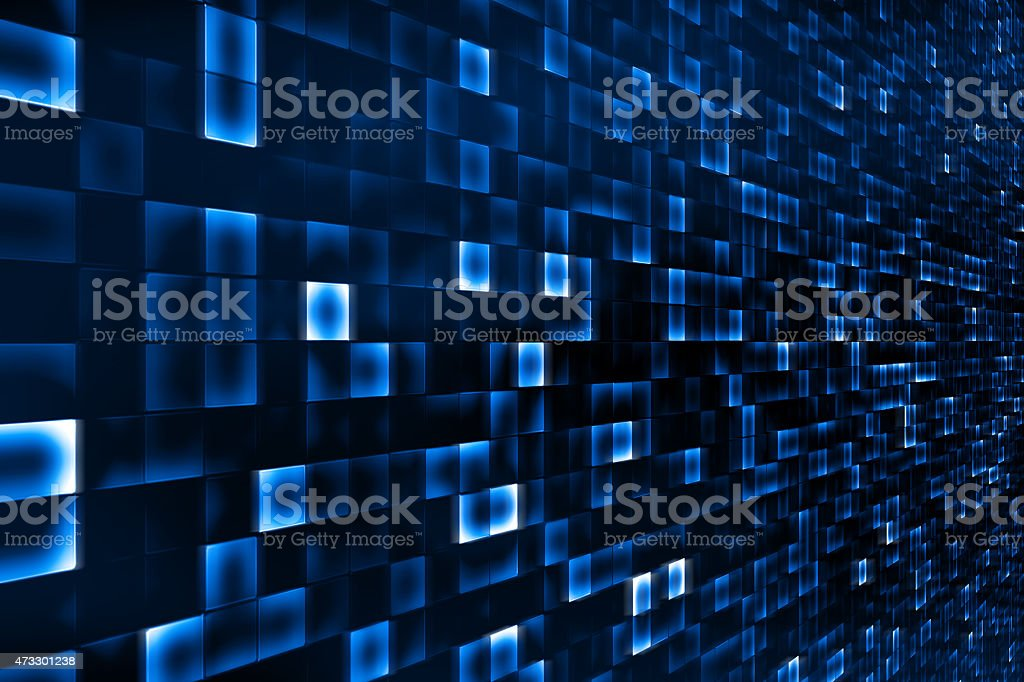 Abstract blue square background of technology screens stock photo