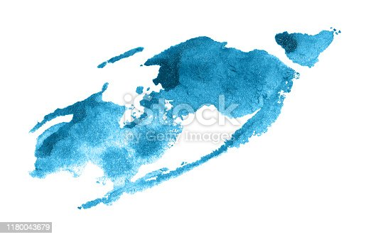 Abstract blue watercolor background. Colorful aquarelle paint texture. Brush stroke isolated on white . Vivid ink stain pattern. Paint splash